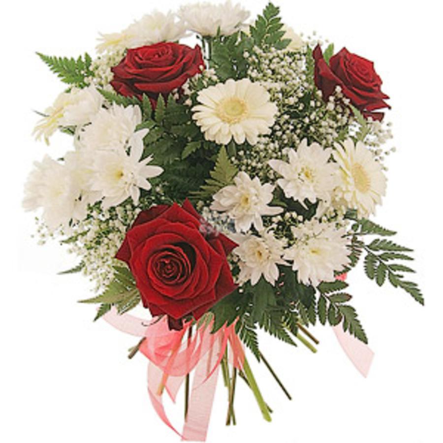 Букет из роз с папоротником, букета