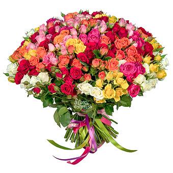 Букет Летний бриз: Микс кустовых роз