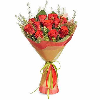 Букет Вечная любовь: Розы и грин белл
