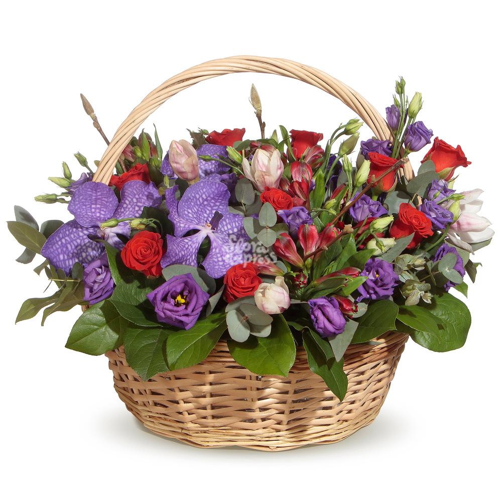 Букет «Flora Express» Корзина с розами и вандой фото